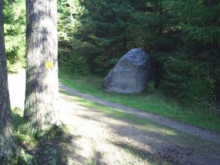 Smerstenen, Smoerstensvej, Gribskov. Smoerstenen is a solid rock 3 m high/ 4 m in lenth and came with the ice cap from Norway or Sweden more than 10.000 years ago.